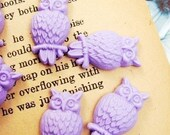 6 pcs Vintage Lovely Owl Resin Cabochon Purple
