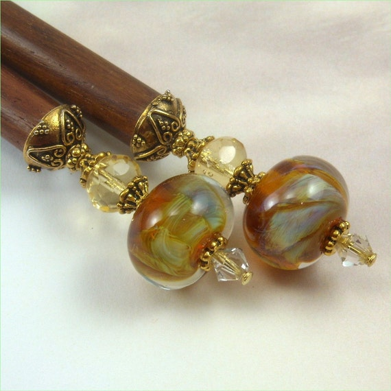 Hairsticks Caramel Elegance in Silver Glass