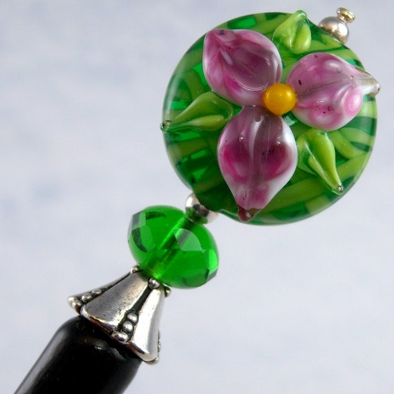 Hairstick Wild Emerald Orchid In Artisan Glass And Sterling Silver