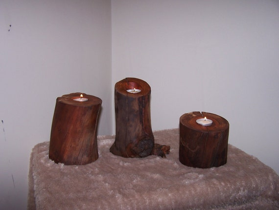 Log candle holder cherry wood votive tea light by for Log candle holder how to make