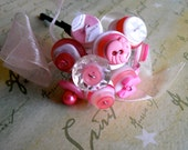 Wedding button bouquet - pink flowers