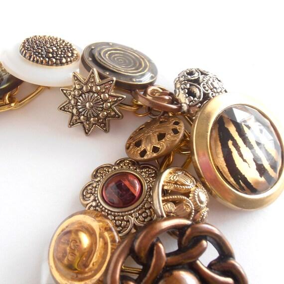 Vintage button bracelet for women, metal bracelet, button jewellery
