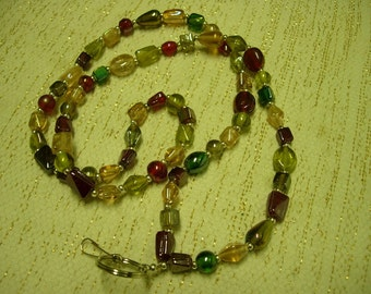 Earth tones beaded badge holder converts to necklace