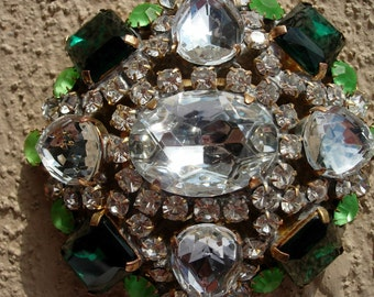 Vintage Pin or Brooch, Green & Clear Czech Crystal, Signed