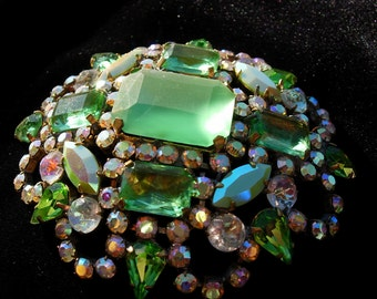 Vintage Pin or Brooch, Mint Greens & Aurora Borealis Czech Crystal, Signed