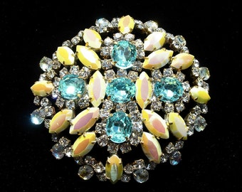 Vintage Czech Crystal Aqua and Yellow Marquis AB Brooch or Pin