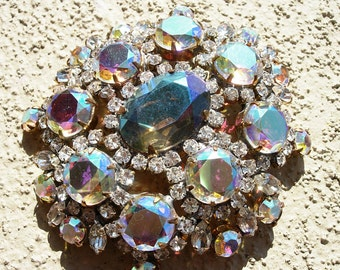 Vintage Pin or Brooch in Aurora and Teal Crystals--signed