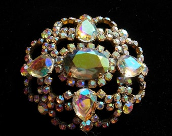 Vintage Pin or Brooch---Clear and Aurora Borealis Crystals--signed