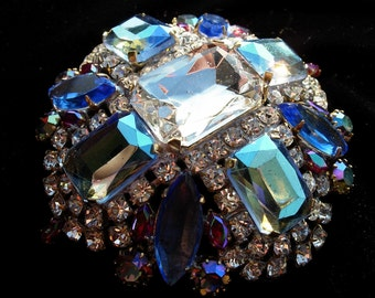 Vintage Pin or Brooch---Aqua or Turquoise and Clear Crystals--signed