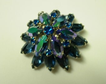 Vintage Pin: Blue and Teal Aurora Borealis Crystal Faceted Pin or Brooch