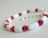 Trifari Vintage Choker/Necklace Nautical White Red and Blue.