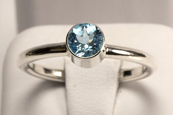 SALE!!! Swiss Blue Topaz Tube Set Ring Handcrafted by TJRJewellery on Etsy