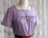 Vintage Lavender Striped Chic Moo Moo / Shift Dress