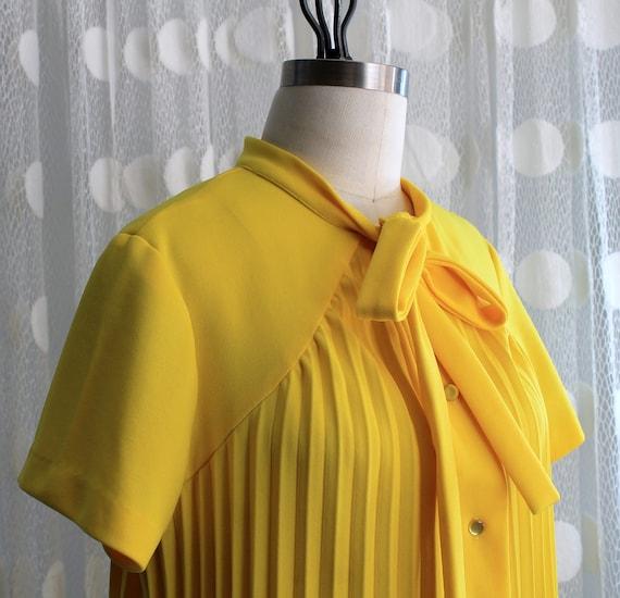 Vintage Canary Pleated Dress