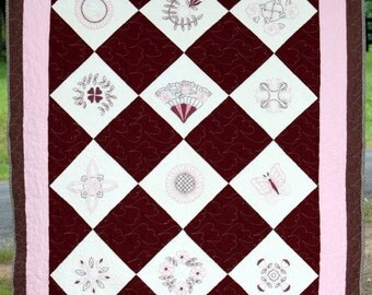 Quilt Cinnamon and Pink Embroidered Throw Or Wall Art