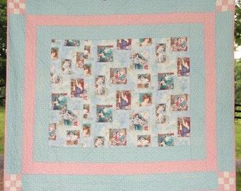 Quilt Ladies Motif Art Textile Reversible Queen King Contemporary