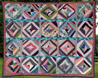 Quilt Contemporary Primitive Strip Stained Glass Motif Out of Georgia