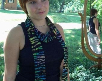 Batik Rainbow Zebra on Black Boho Hair Band Dread Wrap Belt Scarf Multi-Use Personal Textile