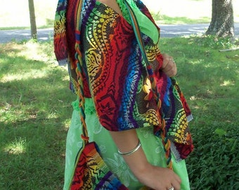 Tribal Rainbow Wrap Scarf Shawl Head Covering Boho Personal Textile Multi Use Natural Accessory
