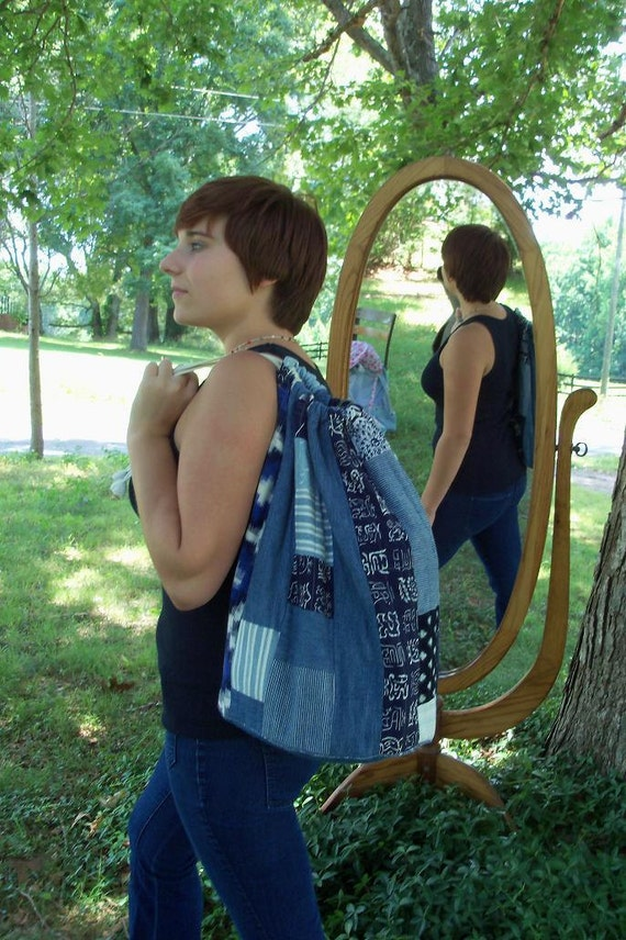 Boro Japanese Indigo Farmer Style Bag New Line Large Duffel Weekender Size Great Boho Gift by artdesignsbydanielle