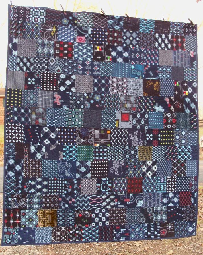 Indigo Quilt Japanese Kasuri Boro Cotton Patchwork Art Textile