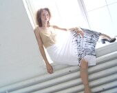 White ecocotton jersey handpainted maxi skirt -MADE TO ORDER