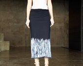 Black ecocotton jersey handpainted maxi skirt -MADE TO ORDER