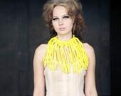 Ecofriendly bright yellow hand crocheted fringe choker