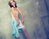 Mint green tye dye eco cotton full skirt - convertible geometric cut - MADE-TO-ORDER