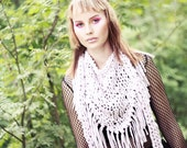 Chunky cotton triangle fringe scarf - Pale pink