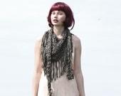 Chunky cotton triangle fringe scarf - Khaki green