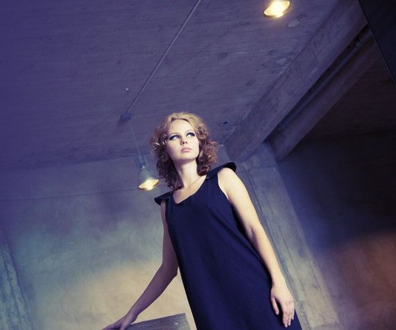 SUPER SALE - Black slouchy ecocotton jersey midi dress with removable epaulettes