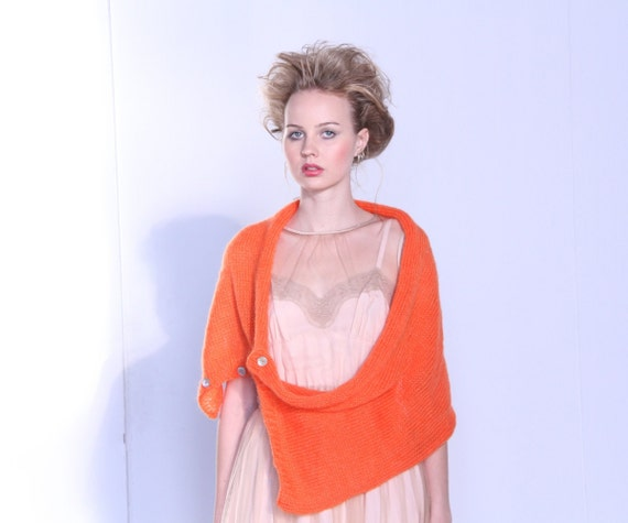 SALE - LAST PIECE - Bright orange huge mohair scarf / cowl / shrug with shell buttons