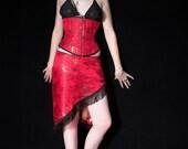 Red Brocade Burlesque Skirt