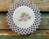 SALE Vintage Floral Wall Plate Shabby Chic Lavender