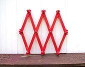 Upcycled Vintage Accordion Wood Wall Peg Rack Red Organizer