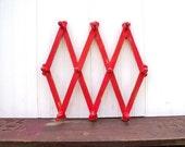 Upcycled Vintage Accordion Wood Wall Peg Rack Red Organizer
