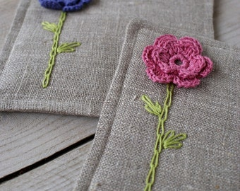 Coasters set of two made of linen/sewing, crocheted and embroidery