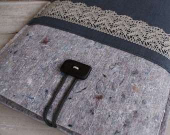 Laptop sleeve for 13 inch Macbook/ mix felt/ linen