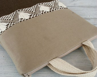 Laptop sleeve Case Cover for 13 inch Macbook/ upholstery cotton/ two handles