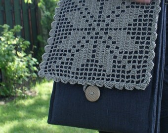 Handbag/ iPad case with three pockets/ linen