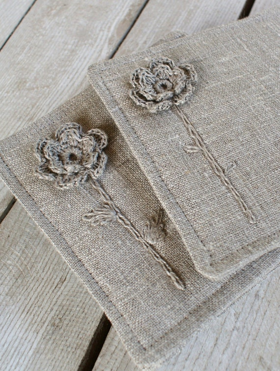Set of 4 coasters from linen/sewing, crocheting and embroidery