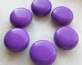 Purple color Coin Shape flat round Beads - Beading supplies - vintage lucite great color beads