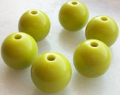 Chartreuse color round puff Beads - Beading supplies - vintage lucite great color beads