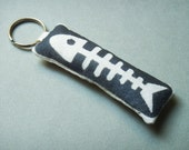 X-ray fish keychain, purse charm, bag charm - stenciled and stuffed
