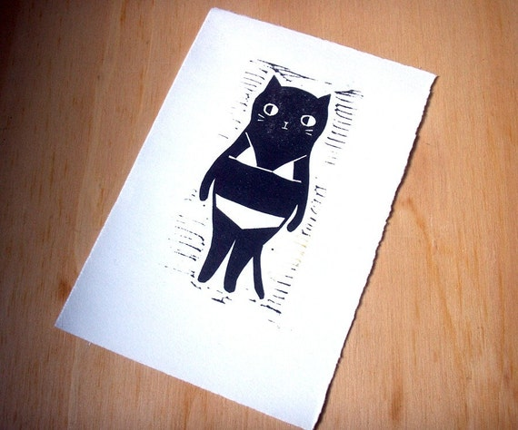 Cat linocut hand pulled- Bikini cat 4x6
