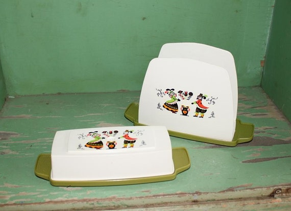 Vintage Napkin Holder and Butter Dish