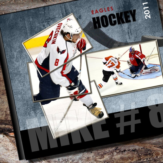 Custom hockey photo album or scrapbook by albumoptions on etsy - Customiser album photo ...
