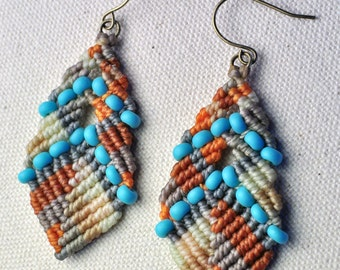 Beaded Buddha Earrings Turquoise and Orange