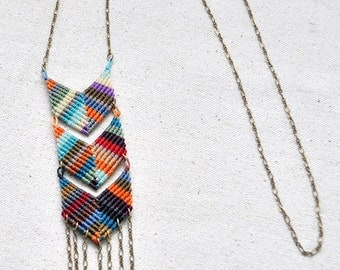 Triple Chevron Necklace Multi